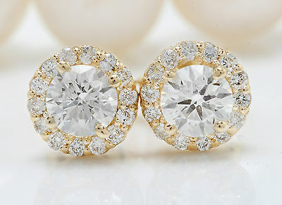 1.00CTW Natural VS2-SI1 / G-H Diamonds in 14K Solid Yellow Gold Stud Earrings