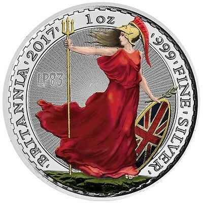 2017 1 Oz SILVER COLORIZED BRITANNIA Coin WITH Blister And Coa.