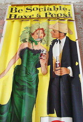 Original 1960's Be Sociable Have A Pepsi Cowboy & Dance Hall Girl Paper Poster
