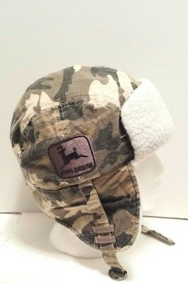 John Deere Trapper Bomber Winter Hat Cap One Size Camouflage