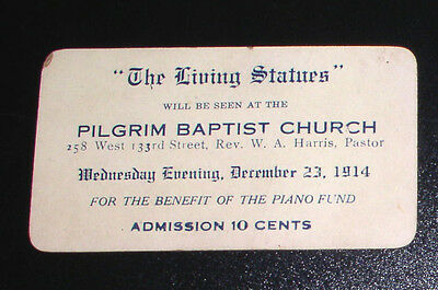 "1914 Pilgrim Baptist Church of Harlem Ticket for ""The Living Statues"" Benefit"
