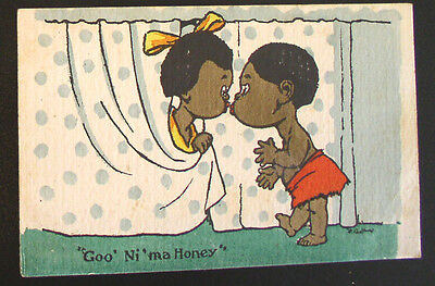 "Racist  Valentine Post Card - C. 1910  ""Goo Ni ma Honey"""