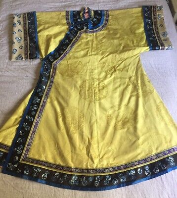 Antique Vintage Chinese Asian Silk Embroidered Robe Kimono Old Dress Floral