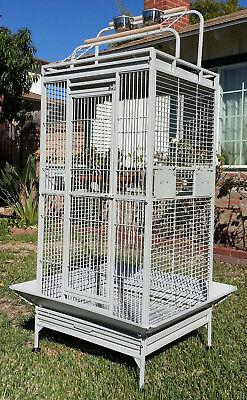 Mcage NEW Large Double Ladders Open Play Top Bird Wrought Iron Cage With Rolling Stand