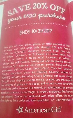 AMERICAN GIRL coupon code 20 % order of $100 EXPIRES 10-31-17 FAST REPLY!