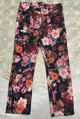 Girls 4 - 5 Youth 4T -  5T   H&M Floral Pants With Crystal Button Stretch