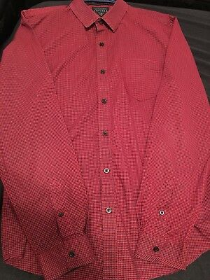 Guess Men'S L Slim Fit Button Down Shirt Large Red