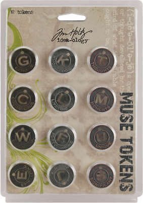"Idea Ology Metal Muse Tokens .875"" 12/Pkg Antique Nickel, Brass & Copper TH92676"