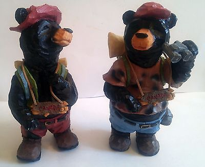 """Two Large Canada Black Bear Hiking Figurines, Cute Collectibles 12""""x6"""""""
