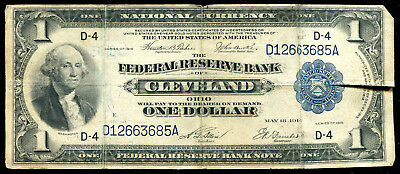 Fr. 719 1918 $1 One Dollar Frbn Federal Reserve Bank Note Cleveland, Oh