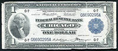 Fr. 727 1918 $1 One Dollar Frbn Federal Reserve Bank Note Chicago, Il