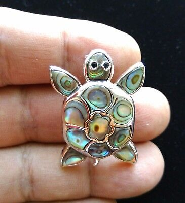 "Vintage Sterling Silver Abalone Sea Turtle Brooch 1 1/4"" S100"