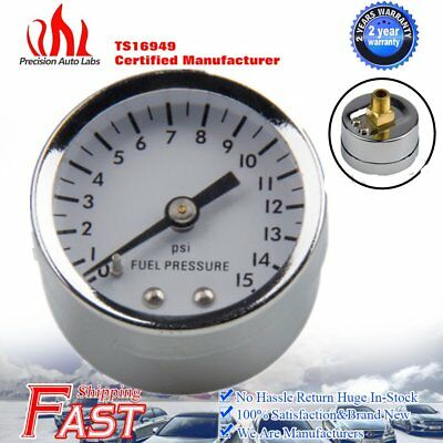 Hot High Perfromance Fuel Pressure Gauge 0-15 PSI. White Dial, Black Pointer