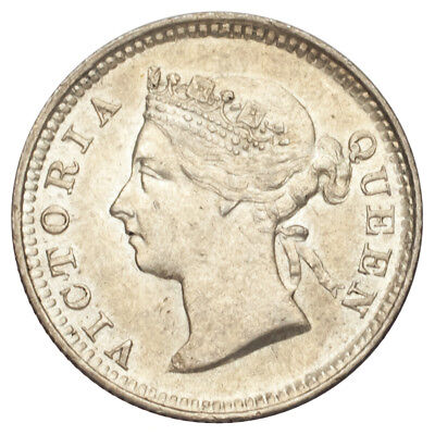 1884 Straits Settlements Silver 5 Cents (Uncirculated, UNC Condition)