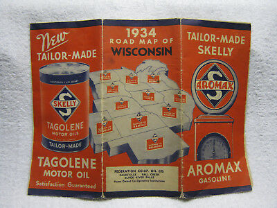 Antique Skelly 1934 Gas Oil Station Road Map