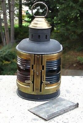 Antique Brass And Metal Perko Combination Port And Starboard Lantern