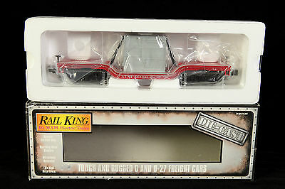 Rail King By Mth # 30-8301 Santa Fe Die Cast Depressed Flat With Transformer-Nib