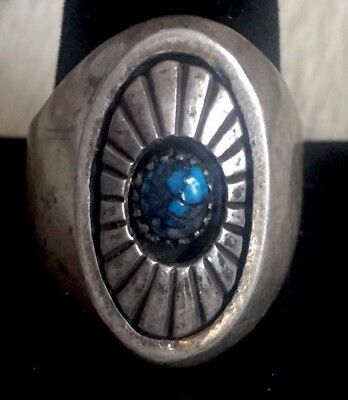 Rare Mens Heavy Lg Old Pawn Navajo Native Am Sterling Bisbee Turquoise Sun Ring