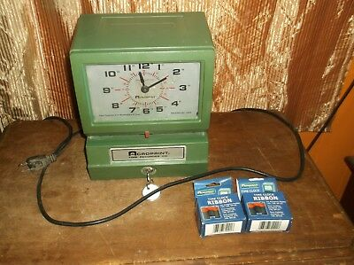 Acroprint 150RR4 Time Clock Automatic Punch Heavy Duty Complete Keys Ribbons