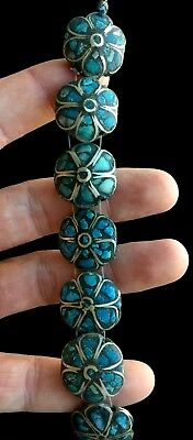 Vintage Sterling Silver Inlaid Turquoise Flower Bracelet Size 7 30 Grams A107