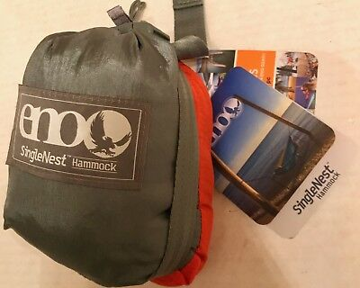 Eagles Nest Outfitters ENO SingleNest Hammock Orange/Grey Nylon NEW