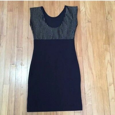 American Apparel Dress Size XS Black and Gold Stripes Bodycon