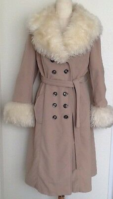 Arnel Women's Faux Fur Trimmed Double Breasted Trench Coat 60's 70's Vintage VTG