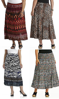"Women 36"" Long A-Line Skirt 1X, 2X Zebra Leopard Laura Scott  Retail $44"