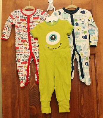 Mixed Lot 6/9 Month Baby Clothes Monsters Inc 2 pc outfit + Footed Sleeper Cars
