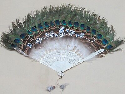 Antique Chinese Carved Bone Natural Peacock Feather Fan 23 Inches, Complete