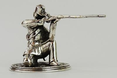Victorian RIFLEMAN STERLING SILVER STATUETTE Augustus George Piesse c1860