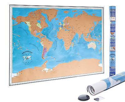 Scratch off World Earth Map Poster With US States and Country Flags | FAST SHIP!