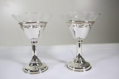Rare Two 2 Antique Vintage Birks Sterling Silver Sherry Goblet Cut Crystal Glass