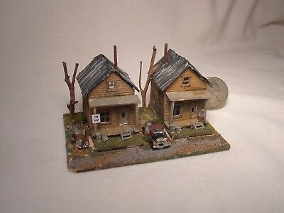 Z scale scratch built TWO 1940s COAL MINERS HOUSES - building, structure