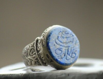 Old Rare Ancient Islamic Turkish  Lapis Lazuli Agate Stone Stamp Ring 7 US