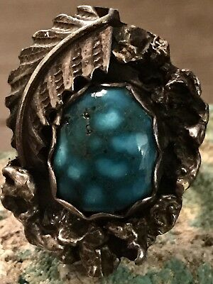 Beautiful Old  Navajo Blossom Ring W/  Rare  Spiderweb Turquoise Stone Size 7.25