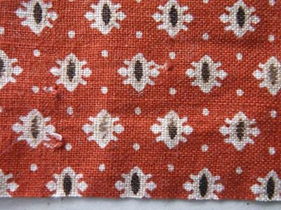 ~Back In Time Textiles~Antique 1860 Red & Brown Fabric 10 pcs~
