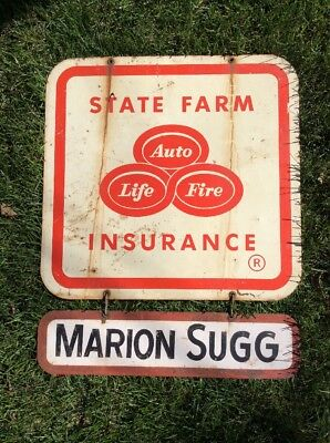 """Vintage State Farm Insurance Drive In Service 31"""" x 25"""" Double Sided Metal Sign"""