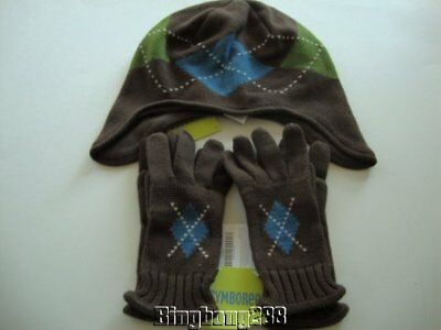 Gymboree ARCTIC ADVENTURE Brown Argyle Hat & Gloves (2 pairs) Boy Size 8 & Up