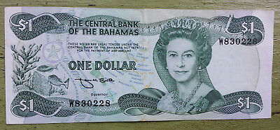 Bahamas 1 Dollar Banknote Cash Queen Elizabeth ii Island Money