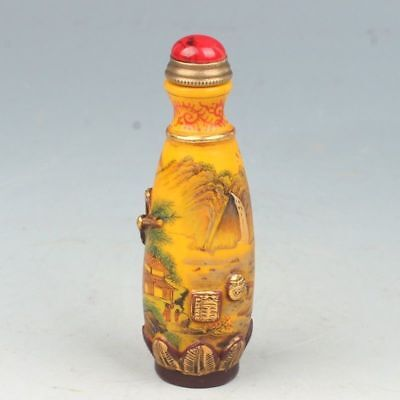 Chinese Exquisite Handmade Natural landscape pattern Glass snuff bottle