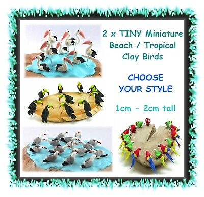 2 x VERY TINY Miniature birds - CHOOSE STYLE - beach tropical sea - made of clay