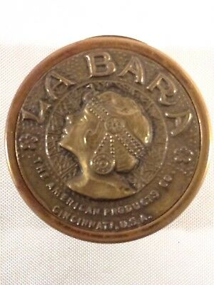 Vintage Art Deco La Bara Rouge Compact Container Brass Theda Bara Silent Movies