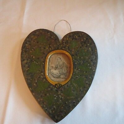 Antique Primitive Victorian Wood & Painted Heart Shaped Mother Mary/ Baby Jesus