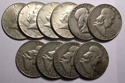 Silver  Franklin & Kennedy Half Dollar Lot $5.00 Face - As Pictured 10 Coins
