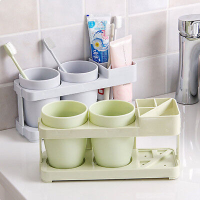Bathroom Double Tumbler Toothbrush Toothpaste Cup Holder Shelf Wall Mounted Gold