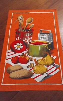 Vtg cotton tea towel orange kitchen cooking theme vegetables