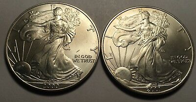 2000 & 2001 Silver American Eagles - 2Oz - Uncirculated - Higher Grade
