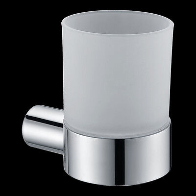 Round Stainless Steel Bathroom Single Tumblers Cup Holder Wall Mount Chrome