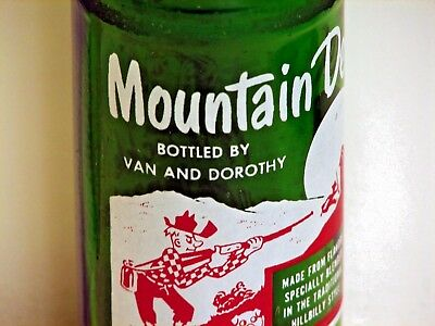 """Mountain Dew hillbilly ACL pop bottle; """"Bottled By Van and Dorothy"""" - Houston TX"""
